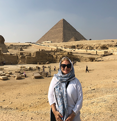 Dr Gretchen M. Stein at the Pyramids